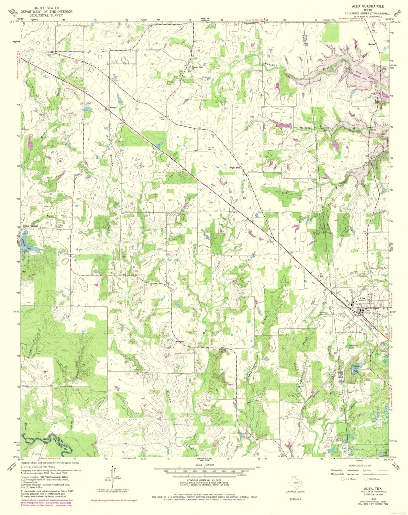 Topographic Map - Alba Texas Quad - Usgs 1958 - 23 X 29.06 - Walmart - Alba Texas Map