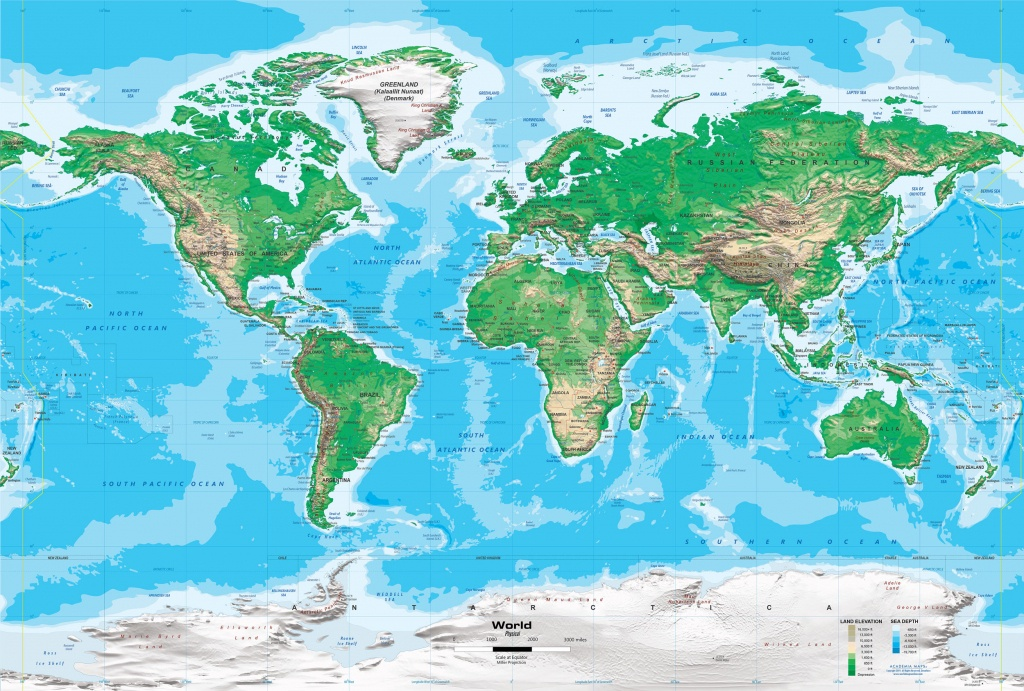 Topographic World Wall Map - Miller Projection - Printable Topo Maps Online