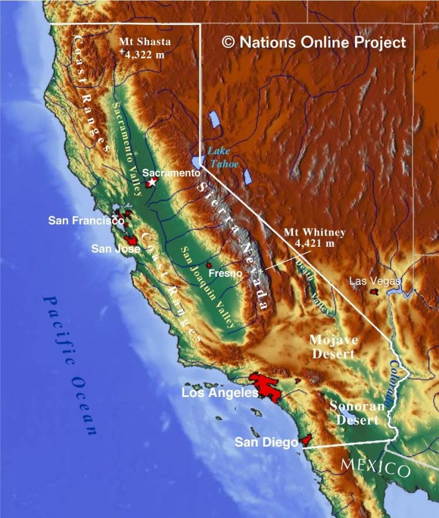 Topographical Map Of California Topographic Make Photo Gallery 867 - California Topographic Map