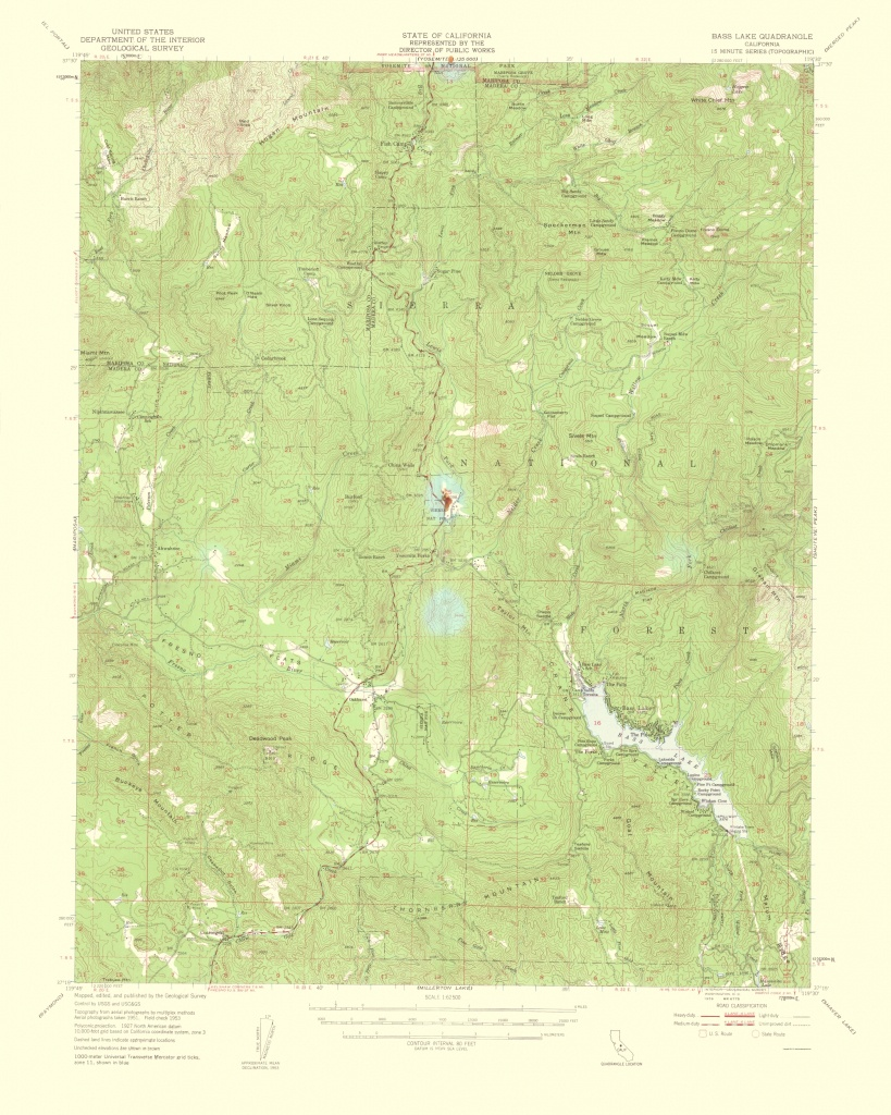 Topographical Map Print - Bass Lake California Quad - Usgs 1959 - 23 - Bass Lake California Map