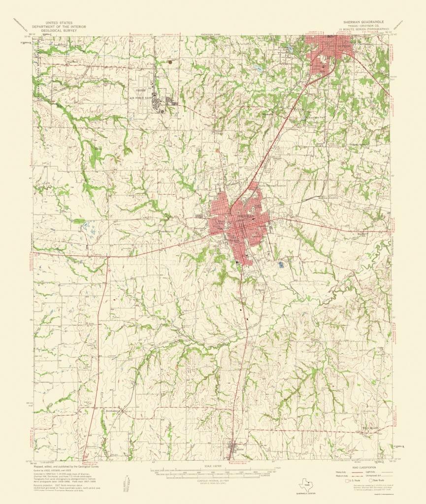 Topographical Map Print - Sherman Texas Quad - Usgs 1959 - 23 X - Sherman Texas Map