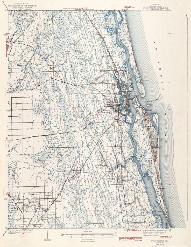 Topographical Map Print - St Augustine Florida Quad - Usgs 1943 - 17 X 22 - Map Of St Johns County Florida