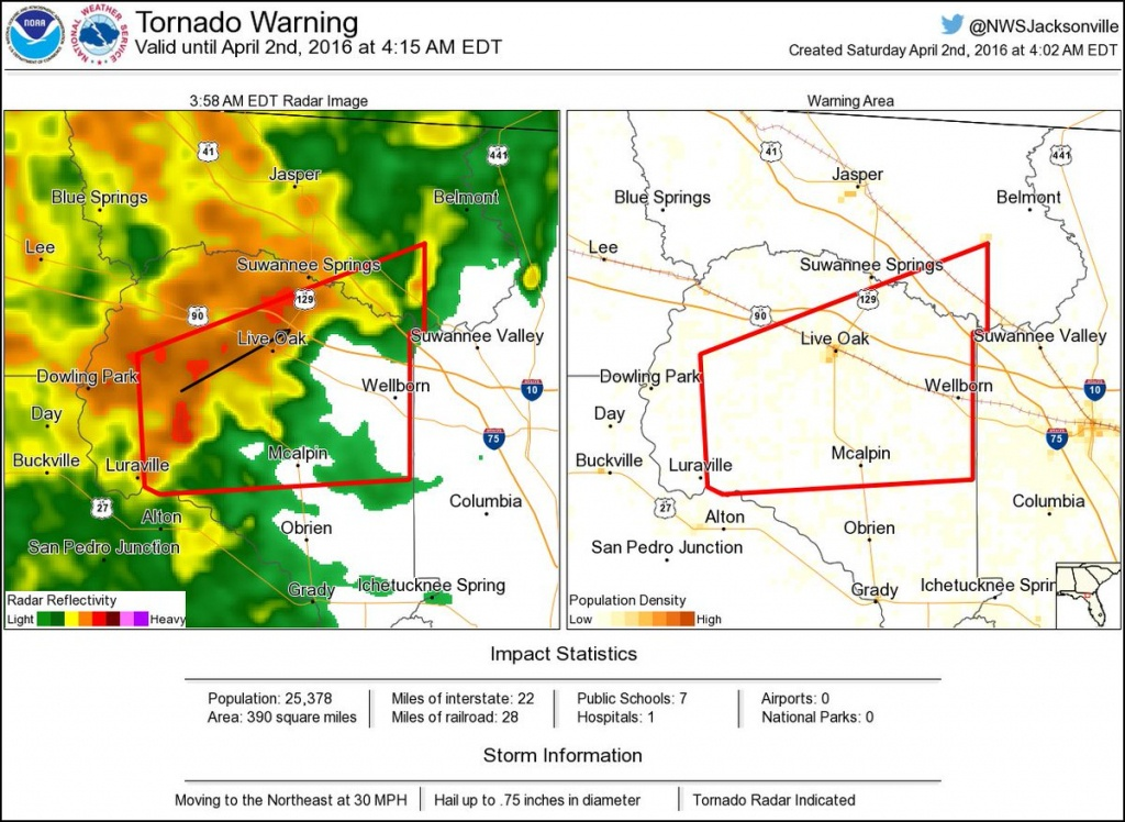Tornado Warning: ⚠ Tornado Warning Including Live Oak Fl - Mcalpin Florida Map