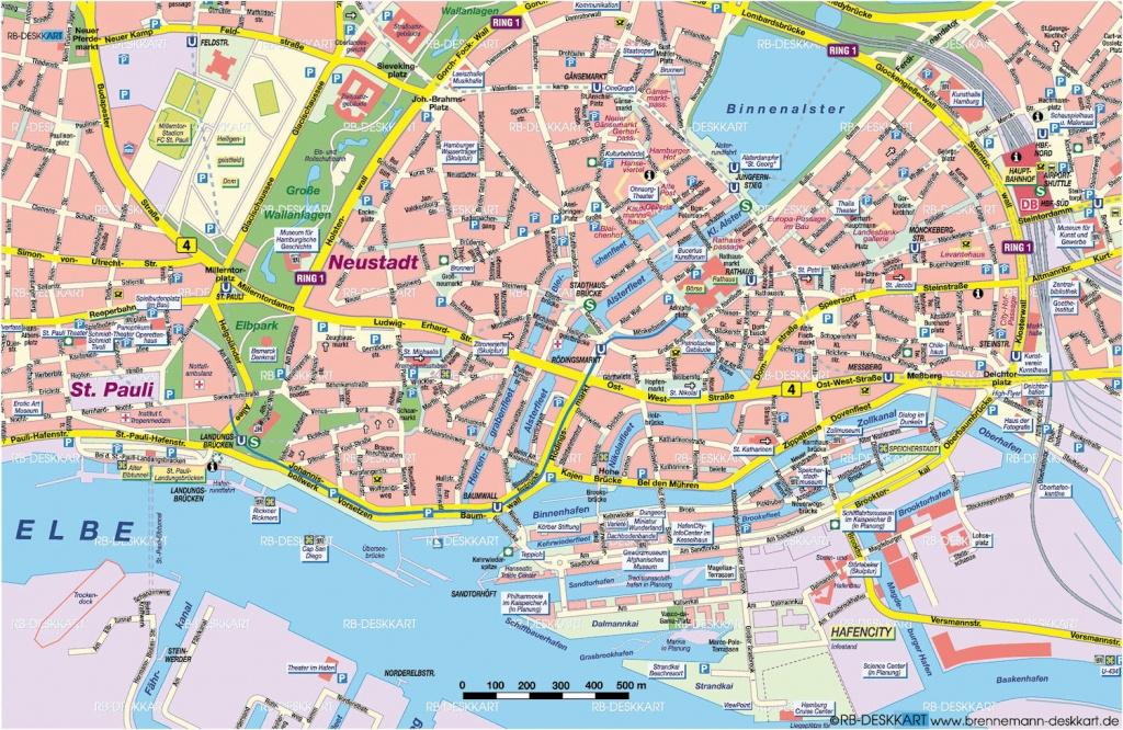 Tourist Map Hamburg | City Maps - Printable Map Of Hamburg