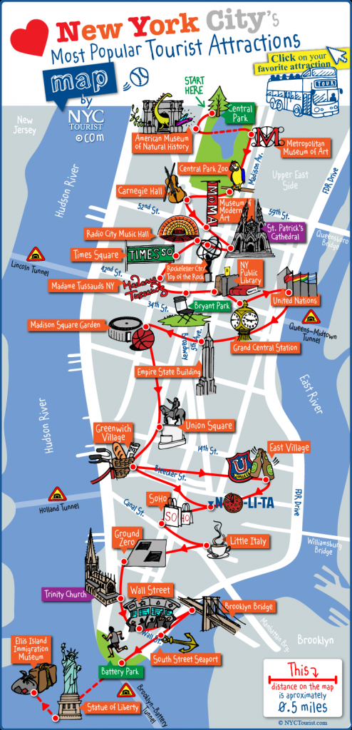 Tourist Map Of New York City Attractions, Sightseeing, Museums - Map Of Nyc Attractions Printable