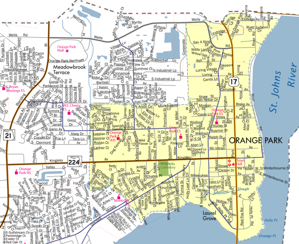 Town Limits & Map - Town Of Orange Park - Florida Orange Groves Map