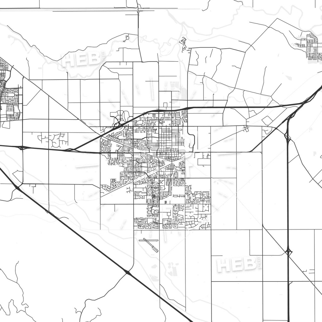 Tracy, California - Area Map - Light | Hebstreits Sketches - Tracy California Map