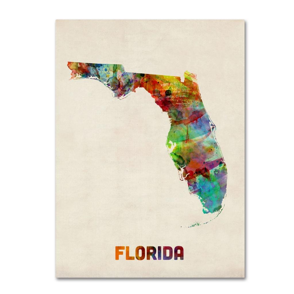 Trademark Art 'florida Map'michael Tompsett Framed Graphic Art - Map Of Florida Art