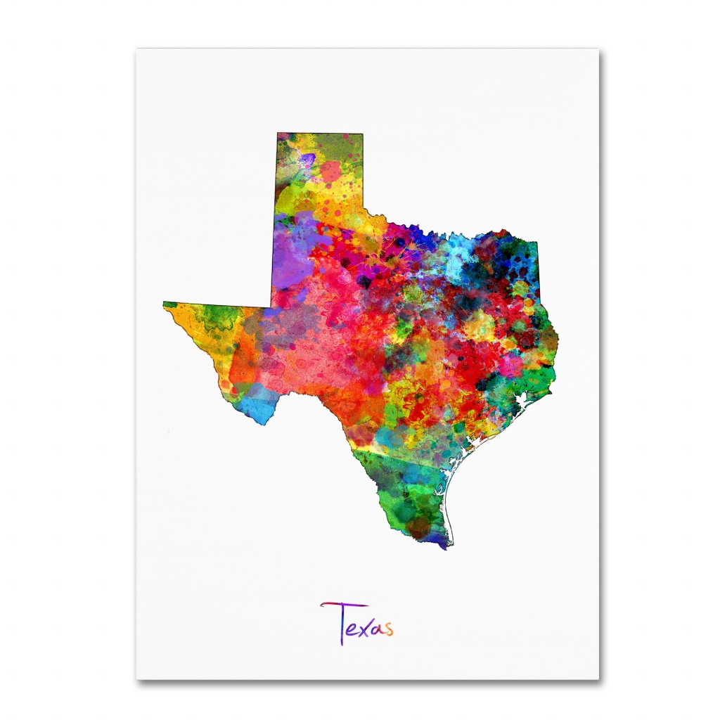 "Trademark Fine Art ""texas Map"" Canvas Artmichael Tompsett - Texas Map Canvas"