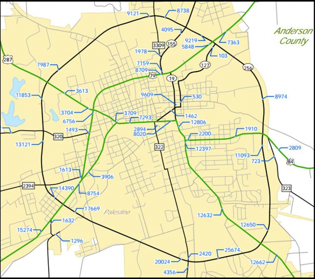 Traffic Counts - Palestine Texas Map