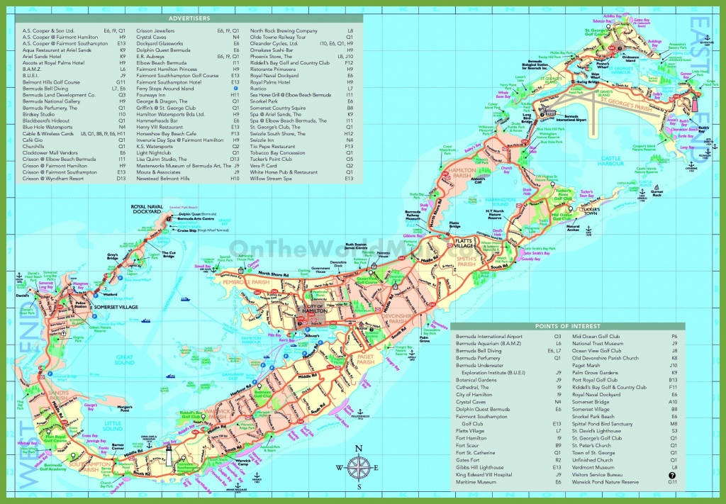 Travel Map Of Bermuda With Attractions - Printable Map Of Bermuda