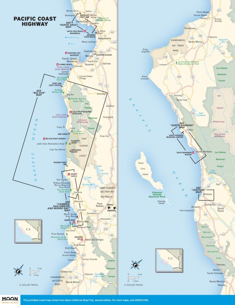 Travel Map Of The Pacific Coast Highway In California.   California - California Pacific Coast Highway Map