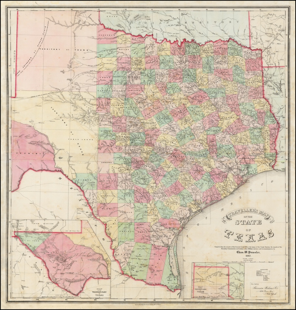 Traveller's Map Of The State Of Texas Compiled From The Records Of - Texas Maps For Sale