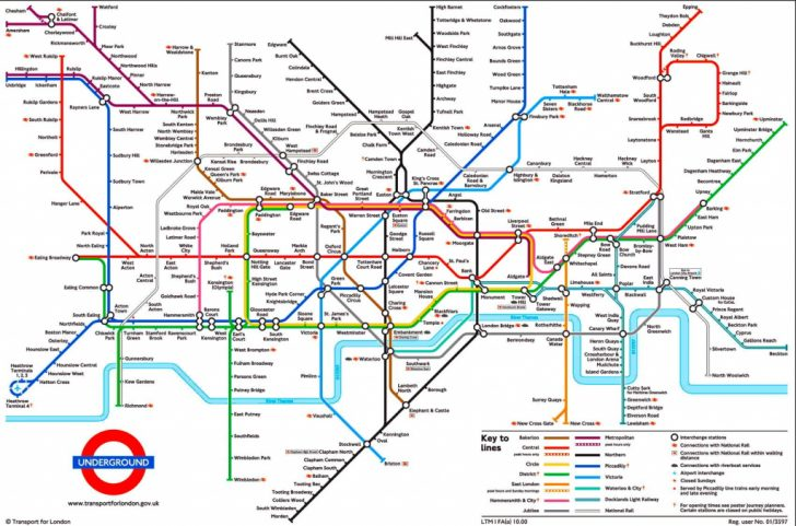 London Underground Map Printable A4