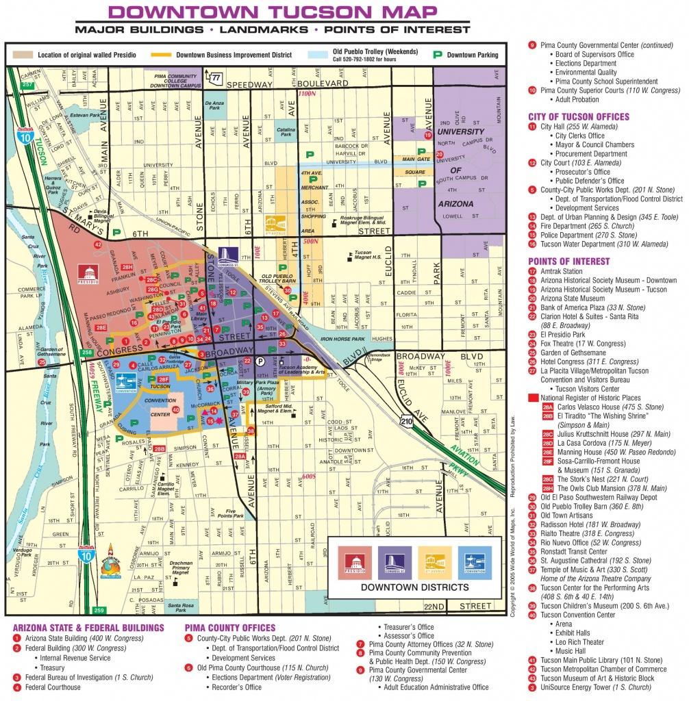 Tucson Downtown Map - Printable Map Of Tucson Az