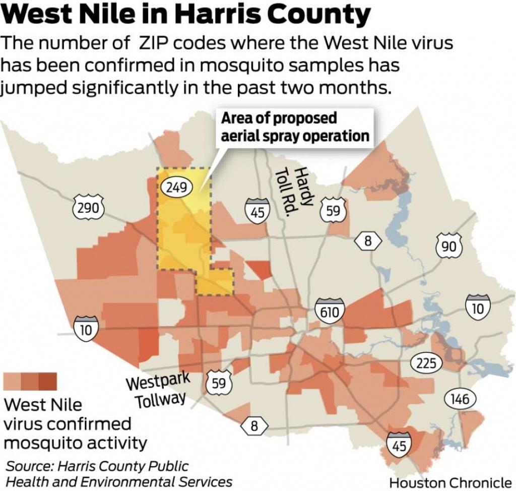 Two More Houstonians Die From West Nile Virus - Houston Chronicle - West Nile Virus Texas Zip Code Map
