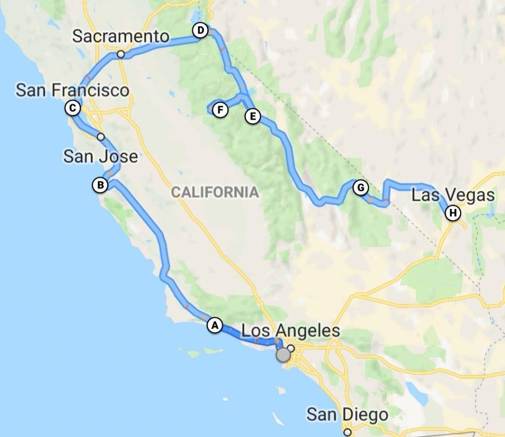 Two Week Road Trip Around California - Two Week Itinerary - California Road Trip Map