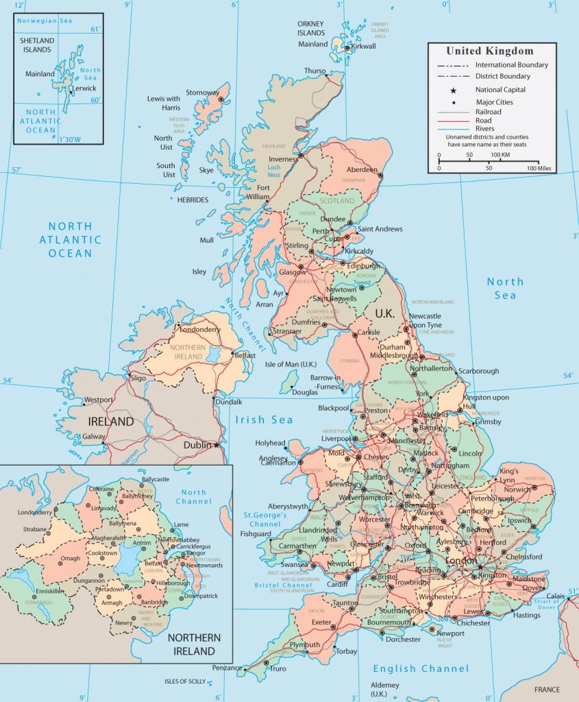 United Kingdom Map - England, Wales, Scotland, Northern Ireland - Europe Travel Map Printable