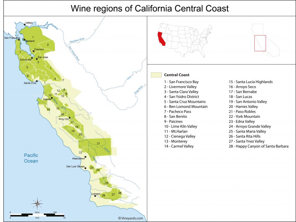 United States Map Of Vineyards Wine Regions - California Ava Map