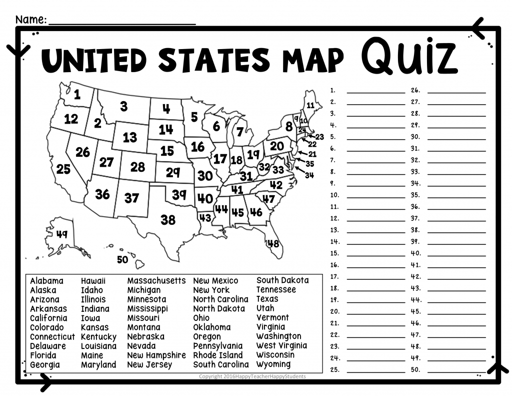 United States Map Quiz & Worksheet: Usa Map Test With Practice - Us Map Quiz Printable
