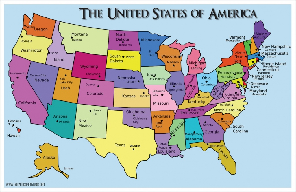 United States Map With Capitals And Abbreviations And Travel - Free Printable Us Map With States And Capitals