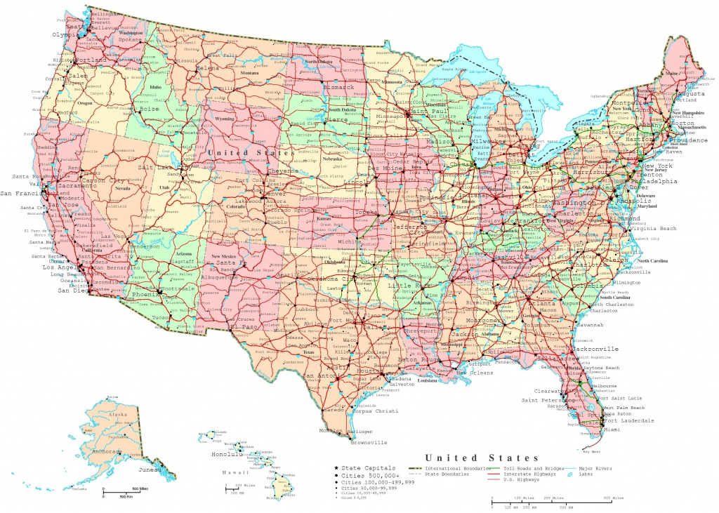 United States Printable Map - Printable United States Map With Scale