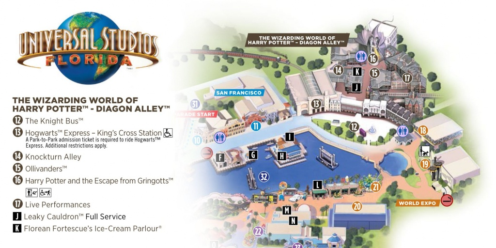 Universal Studios Florida: Diagon Alley (Map) | Potter Party - Printable Map Of Universal Studios Orlando