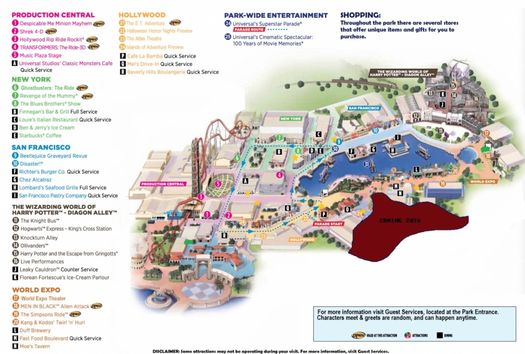 Universal Studios Florida Map 2015 And Travel Information   Download - Universal Studios Florida Park Map