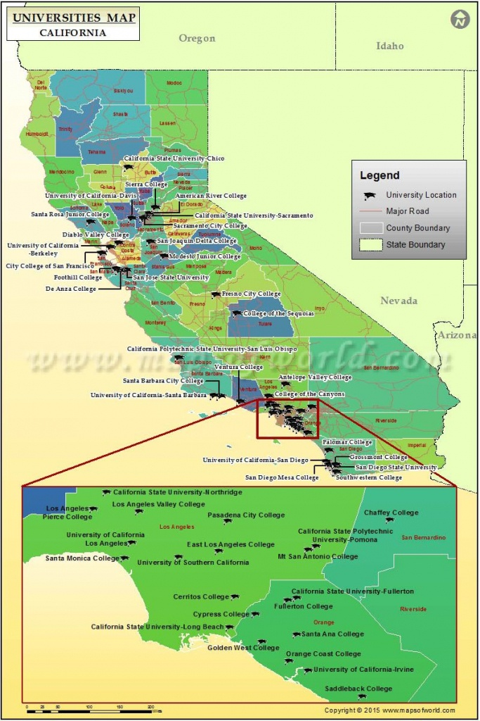 Universities Map Of California, Usa   Colleges / Dorm Rooms For The - California Cities Map List