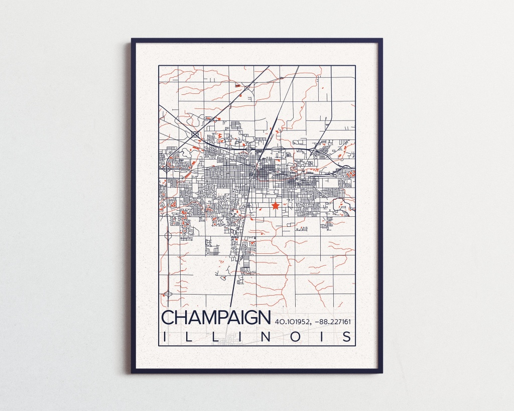 Urbana-Champaign Illinois Map University Of Illinois Print City - Printable Map Of Champaign Il