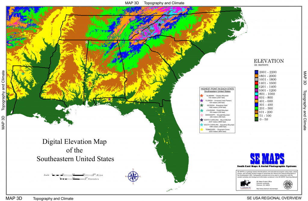 Us Elevation Map Interactive | Sitedesignco - Interactive Elevation Map Of Florida