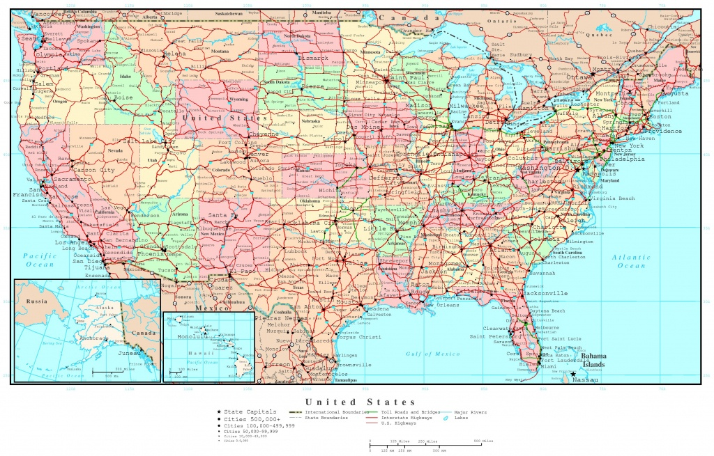 Us Map Of States Printable Large Detailed Political And Road Map Of - United States Travel Map Printable