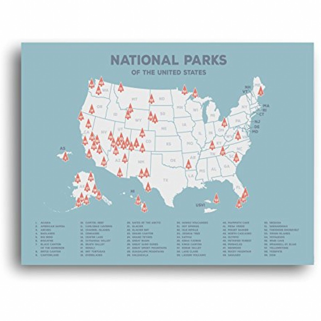 Us National Parks Map, Black Usa Map, Poster, Map Of The United - Printable Map Of National Parks