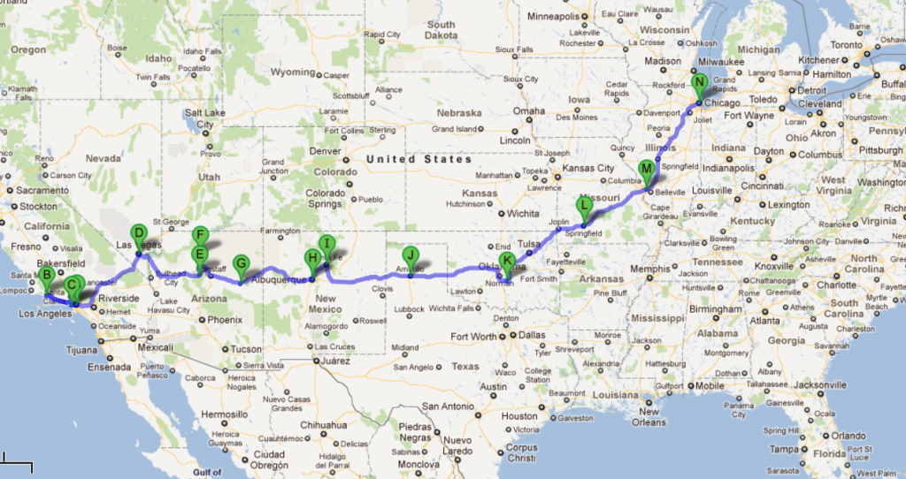 Usa 2012 – Cali + Route 66 | Places To Visit | Route 66 Road Trip - Free Printable Route 66 Map