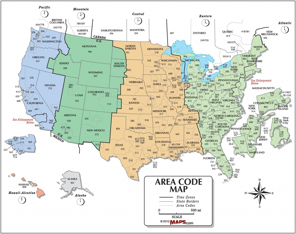 Usa Area Code And Time Zone Wall Map - Maps - Printable Time Zone Map Usa And Canada