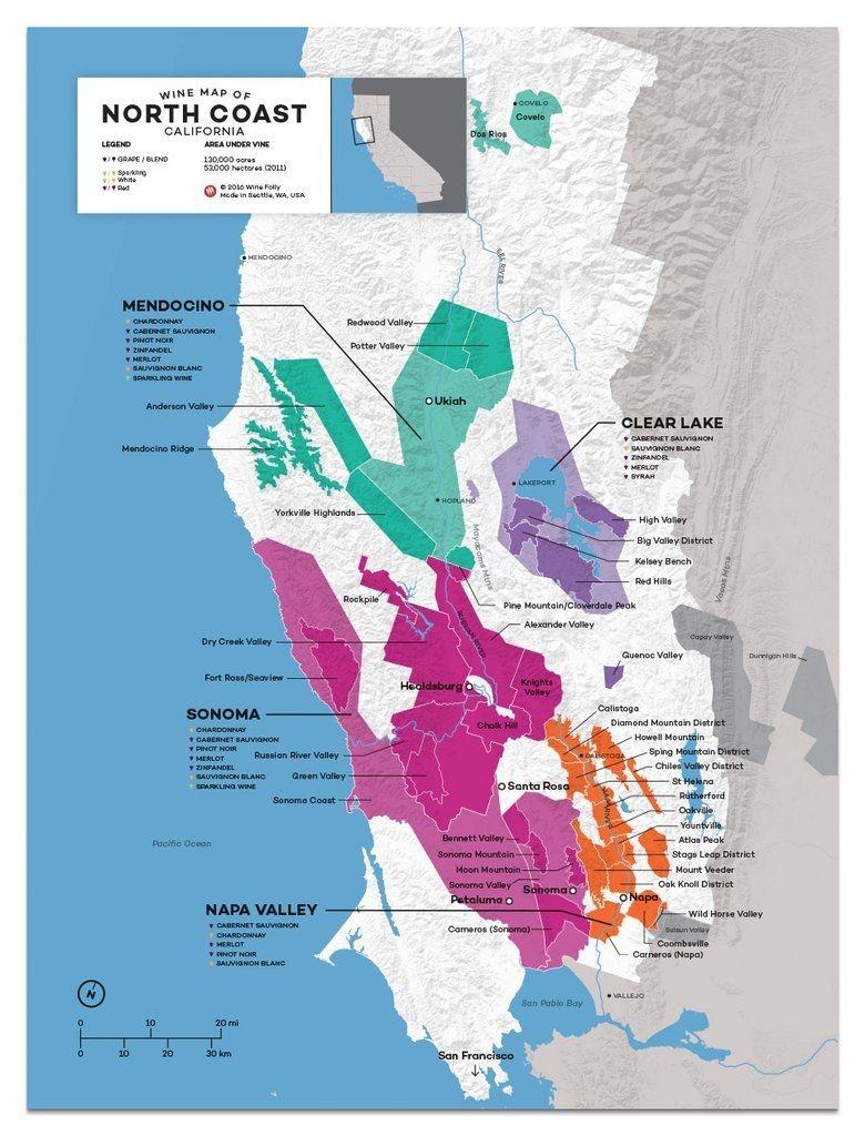 Usa: California, North Coast Wine Map In 2019   Drinks   Wine Folly - California Wine Map Poster