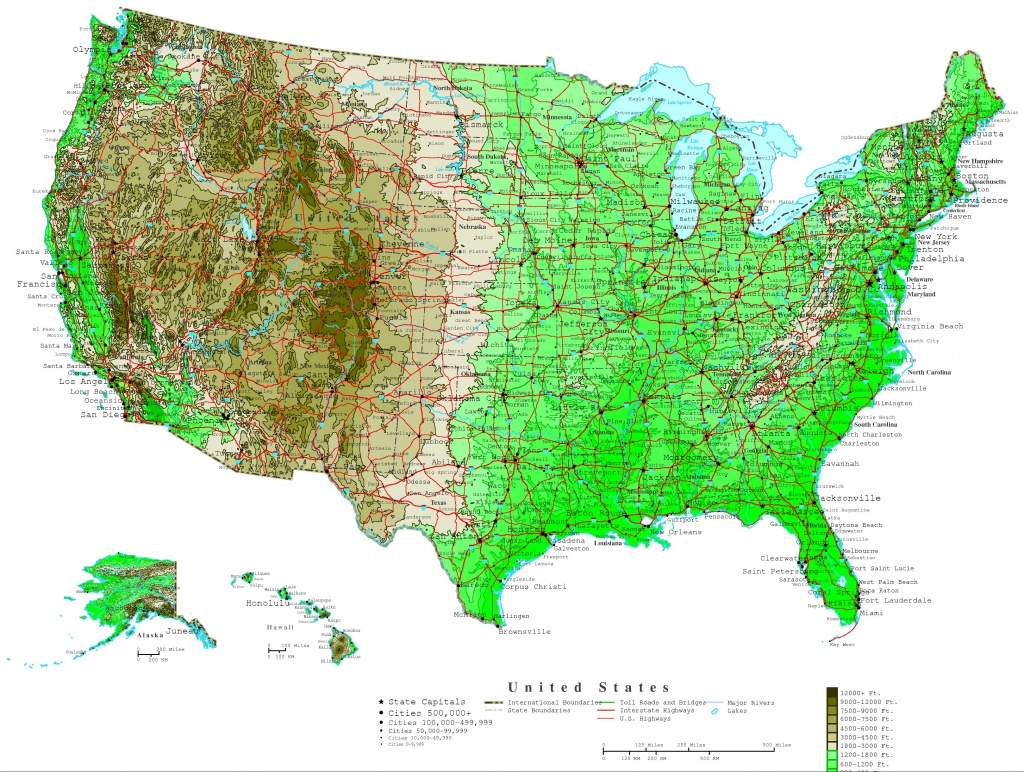 Usa & Canada Maps Online - Yellowmaps World Atlas - Printable Topographic Map Of The United States