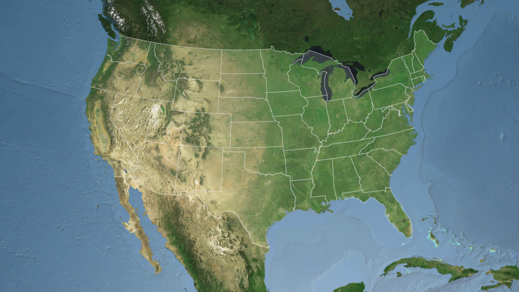 Usa - Florida State (Tallahassee) Extruded On The Satellite Map Of - Satellite Map Of Florida