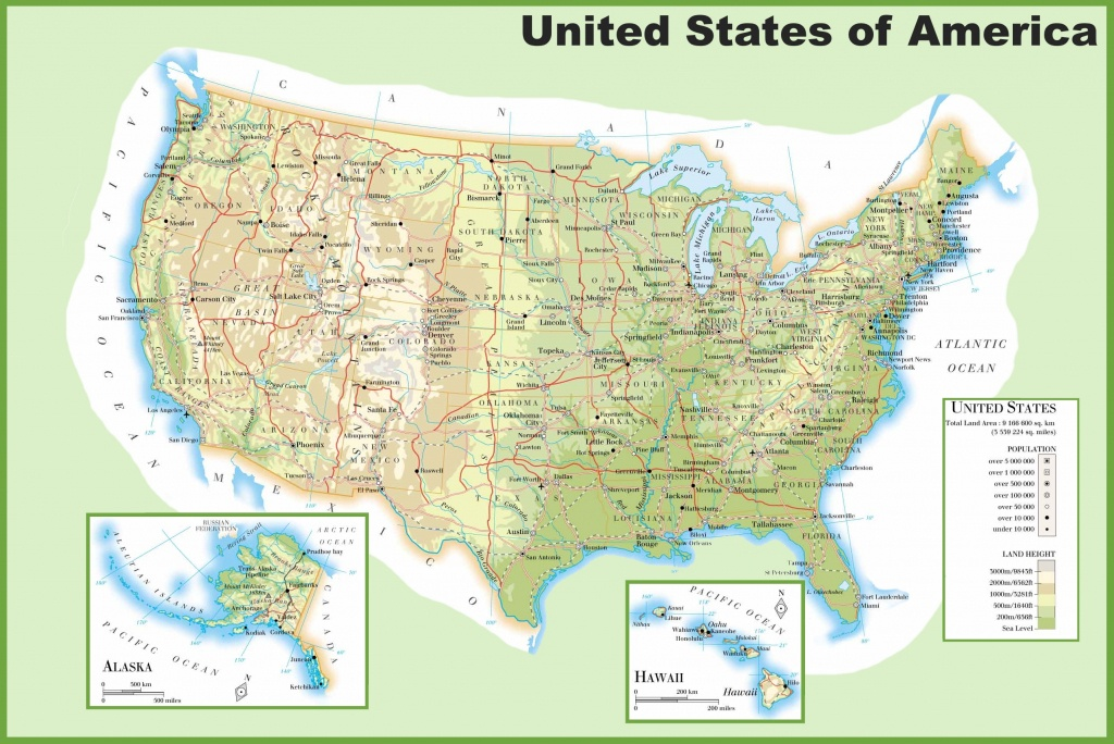 Usa Physical Map - Physical Map Of The United States Printable