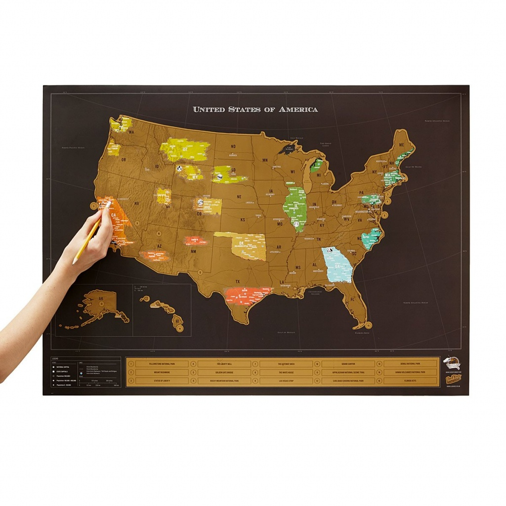 Usa Scratch Map | Interactive Travel Chart | Uncommongoods - Florida Scratch Off Map