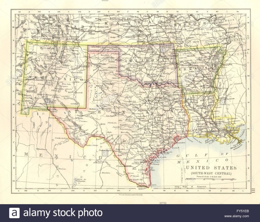Usa South Central.texas Oklahoma Arkansas New Mexico Louisiana, 1920 - Map Of Oklahoma And Texas Together
