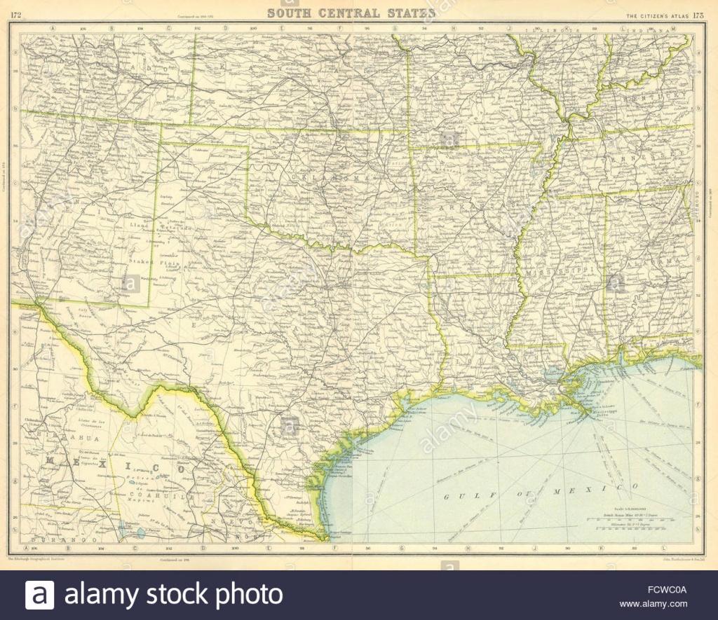 Usa South: Texas Louisiana Oklahoma Arkansas Mississippi Stock Photo - Texas Louisiana Border Map
