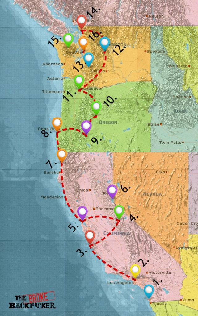 Usa West Coast Road Trip Guide (July 2019) - Seattle To California Road Trip Map