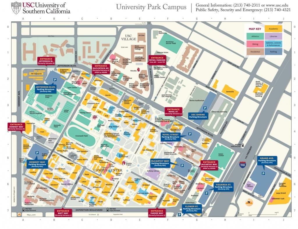 Usc University Park Campus Parking Structures, Entrances Get New - Spg California Map