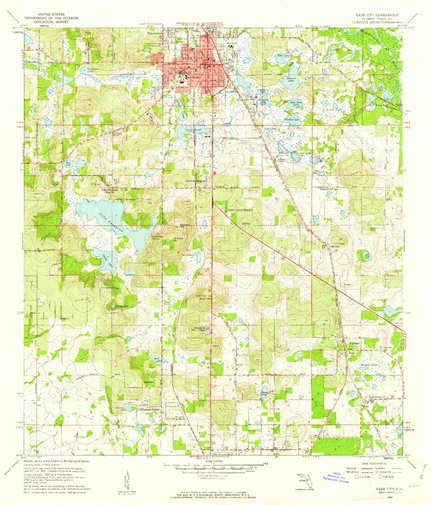 Usgs 1:24000-Scale Quadrangle For Dade City, Fl 1960 - Map Of Florida Showing Dade City