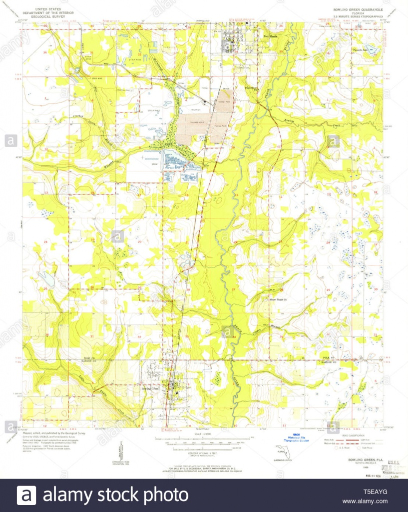 Usgs Topo Map Florida Fl Bowling Green 345262 1955 24000 Restoration - Bowling Green Florida Map
