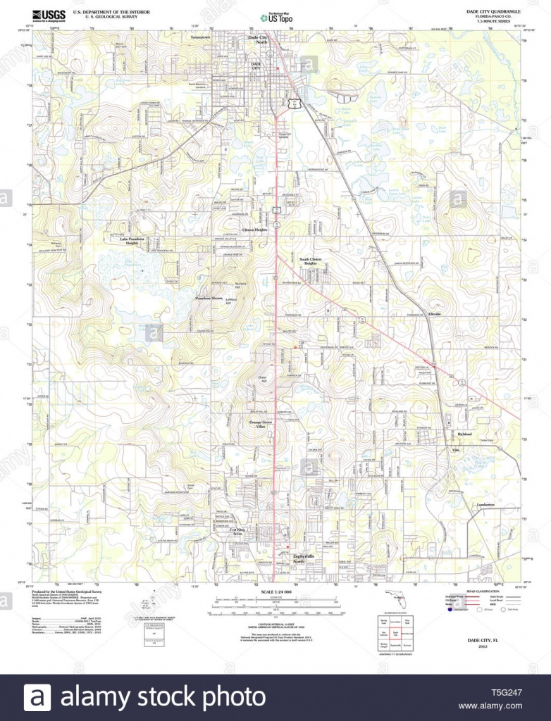 Usgs Topo Map Florida Fl Dade City 20120720 Tm Restoration Stock - Map Of Florida Showing Dade City