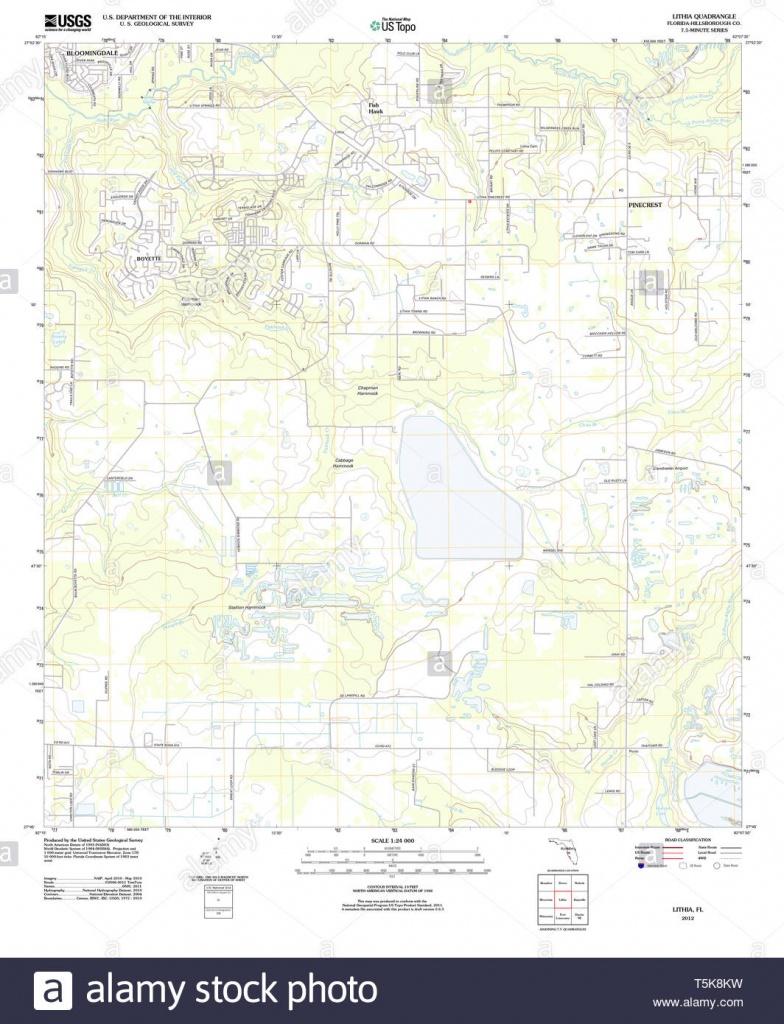 Usgs Topo Map Florida Fl Lithia 20120725 Tm Restoration Stock Photo - Lithia Florida Map