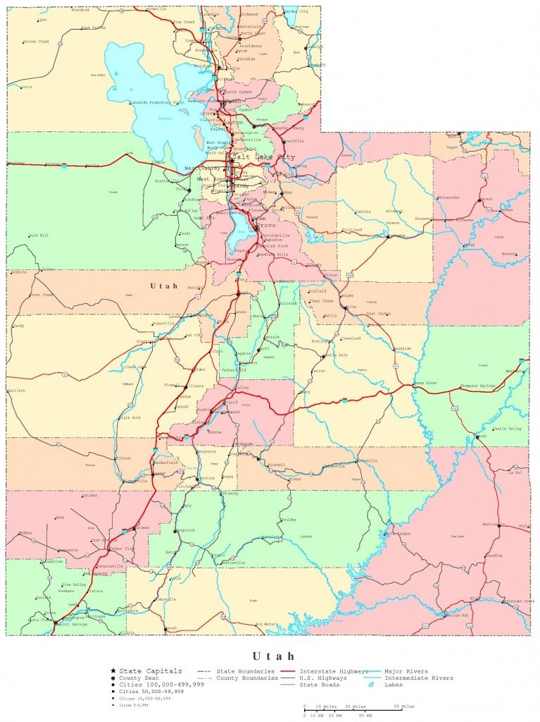 Utah Printable Map - Utah State Map Printable