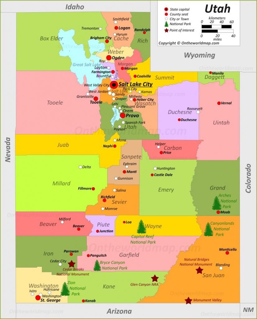 Utah State Maps   Usa   Maps Of Utah (Ut) - Printable Map Of Utah National Parks